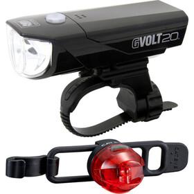 CatEye GVOLT20RC HL-EL350GRC + LOOP2G SL-LD140GRC zestaw oświetlenia rowerowego, czarny/czerwony